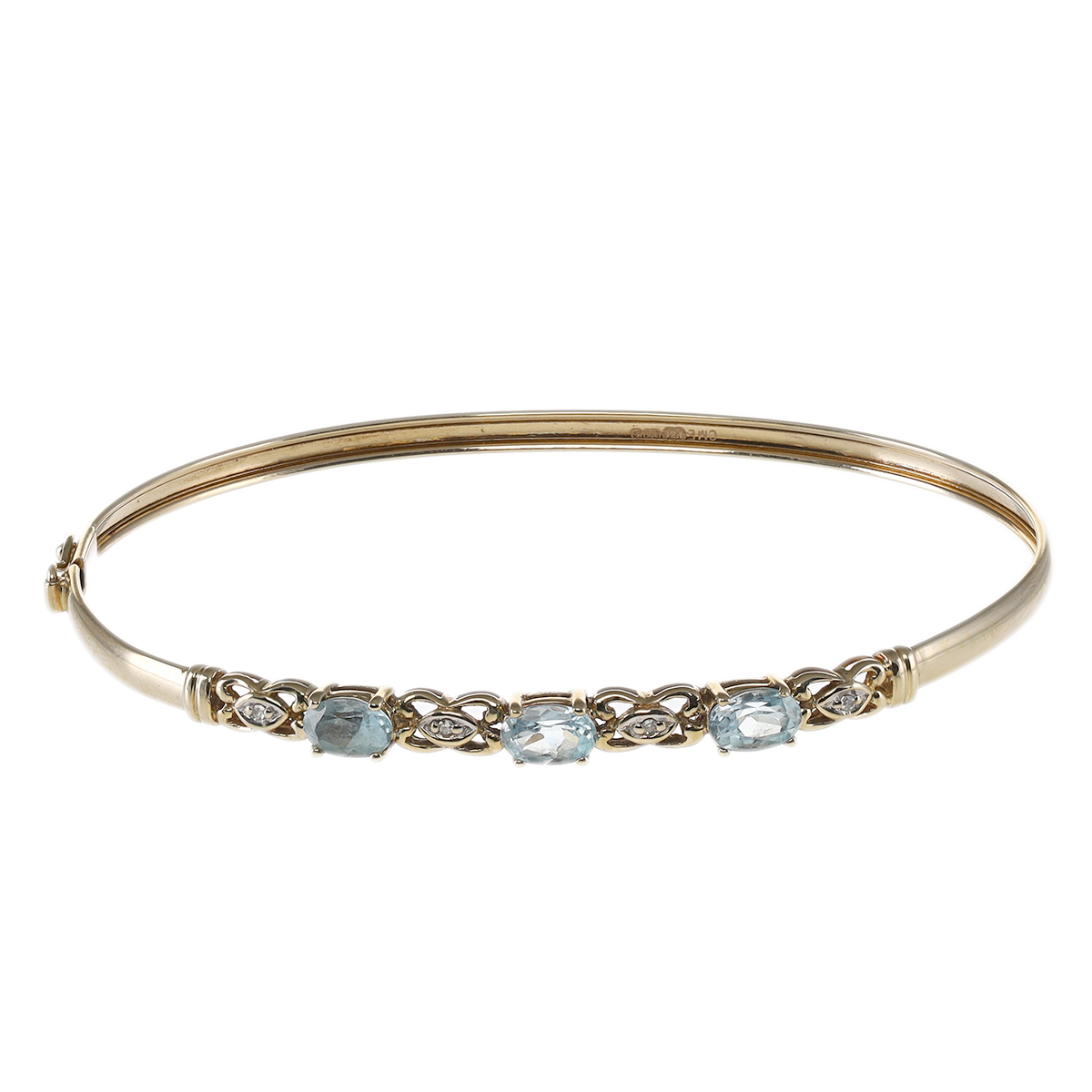 Pre-Owned-9-Carat-Gold-Blue-Topaz-amp-Diamond-Ladies-Bangle-6-5-034-RRP-230-KS15 thumbnail 2