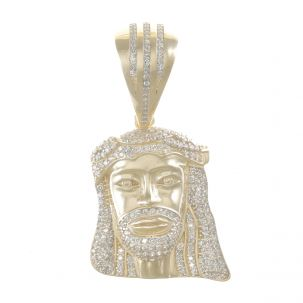 9ct Yellow Gold Cubic Zirconia Iced Out 3D Jesus Head Pendant