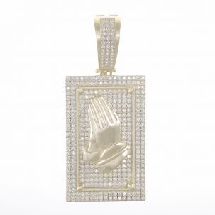 9ct Yellow Gold Cubic Zirconia Iced Out Praying Hands Pendant
