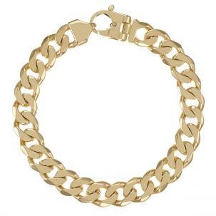 """9ct Gold Solid Bevelled Edge Curb Bracelet -12.5mm - 8.5"""" - Gents"""