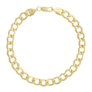"SEMI SOLID - 9ct Gold Italian Curb Bracelet - 7mm  8.5"" Gents"
