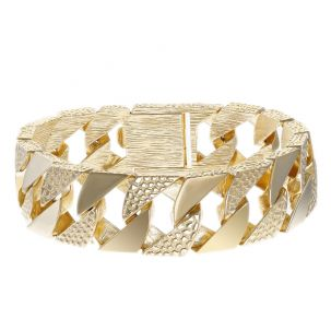 """9ct Gold Heavyweight Patterned Curb Bracelet - 19mm - 8.5"""" - Gents"""