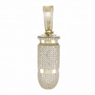 Heavy 9ct Yellow Gold Gem-Set Fully Iced Out Bullet Pendant