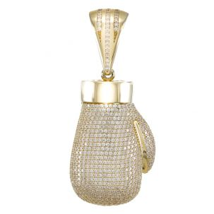 9ct Yellow Gold Gem-Set Solid Boxing Glove Pendant RRP £820