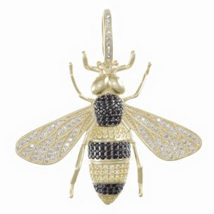 9ct Gold Yellow and Black Iced Out Cubic Zirconia Bee Pendant