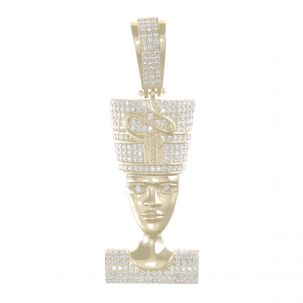 9ct Yellow Gold Iced Out Gemset 3D Nefertiti Queen Head Pendant