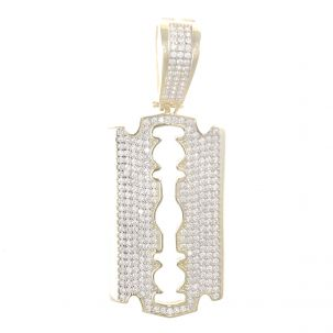 9ct Yellow Gold Gemset Iced Out Polished Razor Blade Pendant