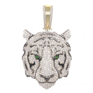 Solid 9ct Yellow Gold Iced Out Gemset Tiger Head Pendant