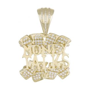 """9ct Yellow Gold Iced Out Gemset 3D Letters """"Money Talks"""" Pendant"""