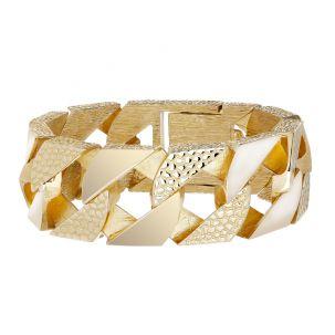 "9ct Gold Heavyweight Textured Curb Bracelet - 28mm - 9"" - Gents"