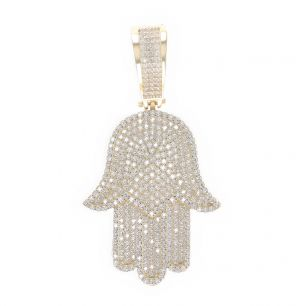 9ct Yellow Gold Cubic Zirconia Iced Out  Hamsa Hand Pendant