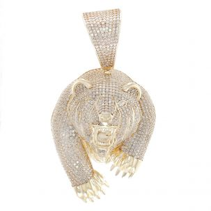 9ct Yellow Gold Iced Out Cubic Zirconia 3D Bear's Head Pendant