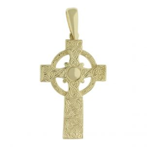 9ct Yellow Gold Ornate Large Solid Classic Celtic Cross Pendant