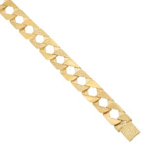 """9ct Gold Heavy Square Patterned Link Curb Chain - 14mm - 28"""""""