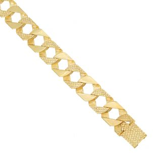 """9ct Gold Solid Heavy Patterned Square Curb Chain - 15mm - 22"""""""