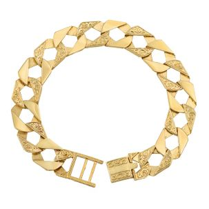 "9ct Gold Solid Ornate Square Curb Bracelet - 14mm - 8.5"" - Gents"