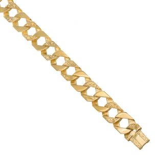 """9ct Gold Heavy Patterned Solid Square Curb Chain - 15mm - 22"""""""