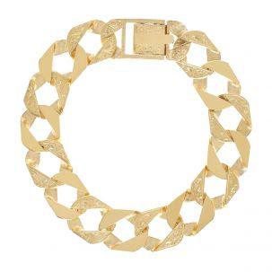 "9ct Gold Solid Ornate Square Curb Bracelet - 15mm - 8.5"" - Gents"