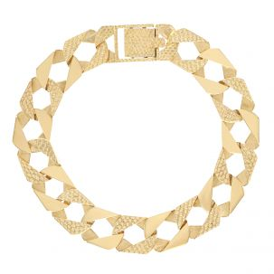 """9ct Yellow Gold Textured Square Curb Bracelet - 14mm 8.5"""" Gents"""