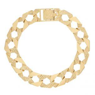 "9ct Gold Textured Square Curb Bracelet - 14 mm - 8"" - Unisex Size"