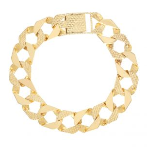 """9ct Gold Solid Textured Square Curb Bracelet -15mm - 9"""" - Gents"""