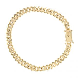 """9ct Solid Yellow Gold Miami Cuban Link Bracelet - 6mm- 8"""" - Gents"""