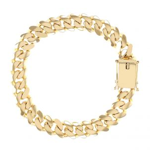 """9ct Yellow Gold Solid Miami Cuban Bracelet - 11 mm - 9""""- Gents"""
