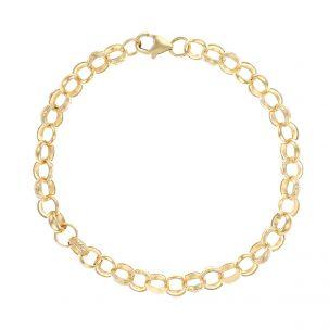 """9ct Gold Solid Patterned Belcher Bracelet - 7.5mm - 8.5"""" - Gents"""