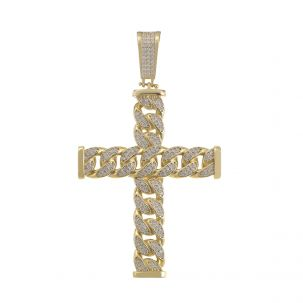 9ct Yellow Gold Iced Out Cubic Zirconia Cuban Link Cross Pendant