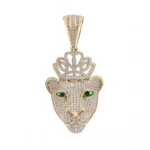 9ct Yellow Gold Iced Out Gem Set Lioness Head Pendant