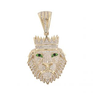 9ct Yellow Gold Iced Out AAA Grade Gem Set Lions Head 3D Pendant