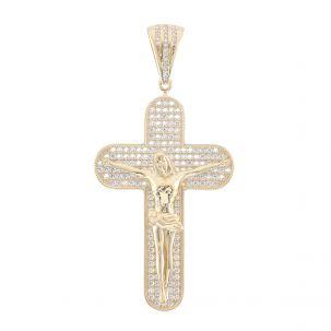 9ct Yellow Gold Iced Out Gem Set Big Crucifix Cross Pendant