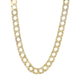 """9ct Yellow Gold Solid Patterned Square Curb Chain - 30"""" - 14mm"""