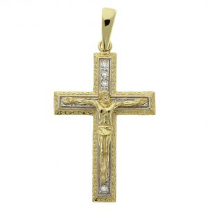 9ct Yellow Gold Gem-set Classic Large Crucifix / Cross Pendant