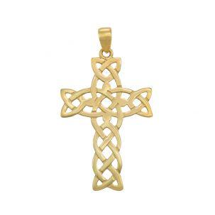 9ct Yellow Gold Celtic Design Polished Cross Pendant - 34mm