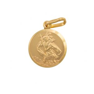 9ct Yellow Gold Single-Sided Round St. Christopher Pendant - 20mm