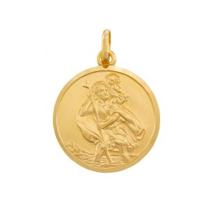 9ct Yellow Gold Single-Sided Round St. Christopher Pendant - 41mm