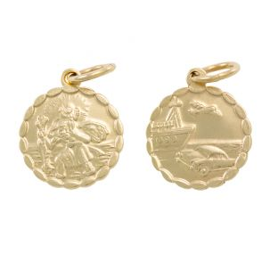 9ct Yellow Gold Double-Sided Round St. Christopher Pendant - 24mm