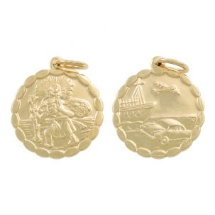 9ct Yellow Gold Double-Sided Round St. Christopher Pendant - 28mm