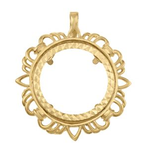 9ct Gold Fancy Wave Pattern Half Sovereign Coin Mount Pendant