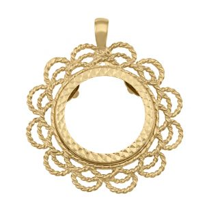 9ct Gold Half Sovereign Rope Wave Design  Coin Mount Pendant
