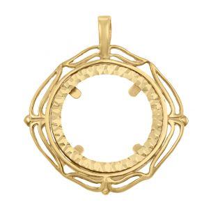 9ct Yellow Gold Diamond Shape Full Sovereign Coin Mount Pendant