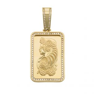 9ct Yellow Gold Cubic Zirconia Iced Gold Swiss Bar Style Pendant