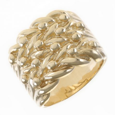 Solid 9ct Yellow Gold Large Heavy  4 Row Keeper Ring - Gents
