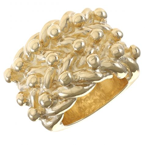 9ct Yellow Solid Super Heavy Gold Gents Huge 3 Row Keeper Ring