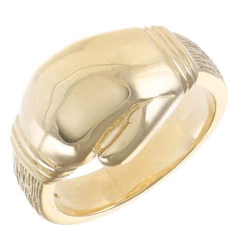 Solid 9ct Yellow Gold Heavy Polished Boxing Glove Ring  - Gents