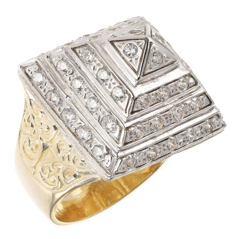 9ct Gold Solid Heavy Gem-set Pyramid Ring Large Size - Gents