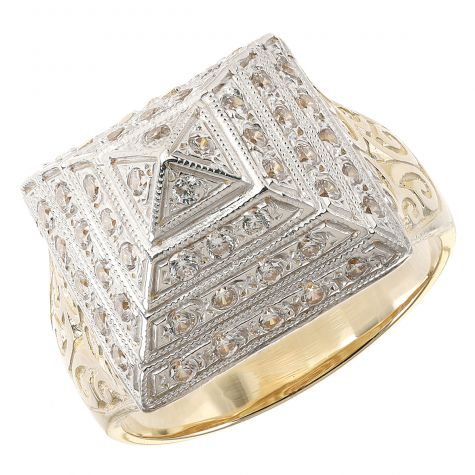 9ct Yellow Gold Solid CZ Gem set & Patterned Pyramid Ring - 16mm