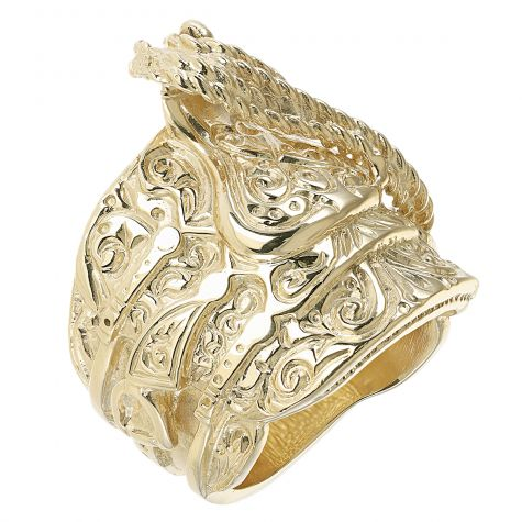 Solid 9ct Yellow Gold Heavy Extra Large - Gent's Saddle Ring
