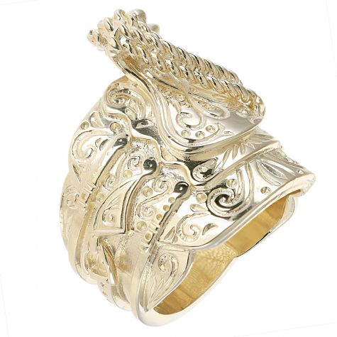 9ct Yellow Gold Solid Large Size Heavy Saddle Ring - Gent's
